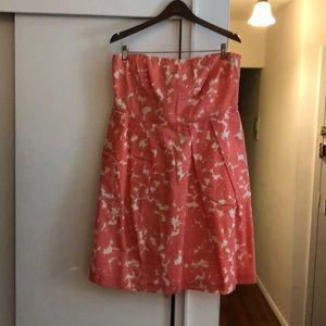 J.Crew coral print strapless dress